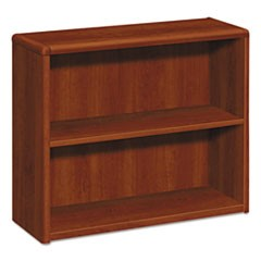 10700 Series Wood Bookcase, Two Shelf, 36w x 13 1/8d x 29 5/8h, Cognac