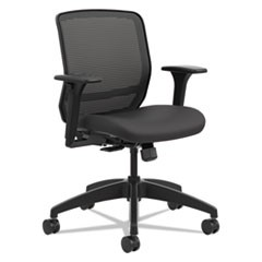 Hon Quotient Series Mesh Mid-Back Task Chair, Supports Up To 300 Lbs., Black Seat/Black Back, Black Base