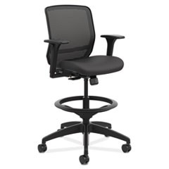 Hon Quotient Series Mesh Mid-Back Task Stool, 33  Seat Height, Supports Up To 300 Lbs., Black Seat/Black Back, Black Base