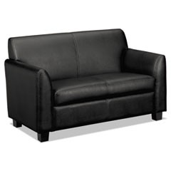 Circulate Leather Reception Two-Cushion Loveseat, 53 1/2 x 28 3/4 x 32, Black