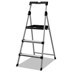 Aluminum Step Stool Ladder, 3-Step, 225 lb Capacity, 20w x 31 spread x 47h, Silver