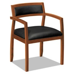 TopFlight Wood Guest Chairs with Black Leather Seat/Back, Bourbon Cherry