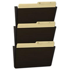 Wall File, Letter, 13 x 14, Three Pocket, Smoke