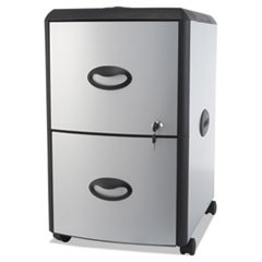 Two-Drawer Mobile Filing Cabinet, Metal Siding, 19w x 15d x 23h, Silver/Black