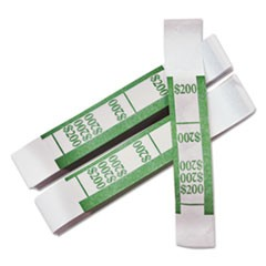 Color-Coded Kraft Currency Straps, Dollar Bill, $200, Self-Adhesive, 1000/Pack