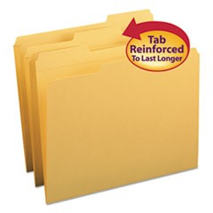 Smead Reinforced Top Tab Colored File Folders, 1/3-Cut Tabs, Letter Size, Goldenrod, 100/Box