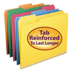 Reinforced Top Tab Colored File Folders, 1/3-Cut Tabs, Letter Size, Assorted, 100/Box