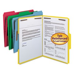 Top Tab Colored 2-Fastener Folders, 1/3-Cut Tabs, Letter Size, Assorted, 50/Box