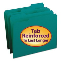 Smead Reinforced Top Tab Colored File Folders, 1/3-Cut Tabs, Letter Size, Teal, 100/Box