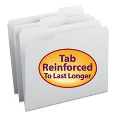 Smead Reinforced Top Tab Colored File Folders, 1/3-Cut Tabs, Letter Size, White, 100/Box