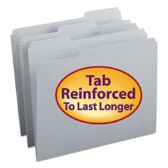 Smead Reinforced Top Tab Colored File Folders, 1/3-Cut Tabs, Letter Size, Gray, 100/Box