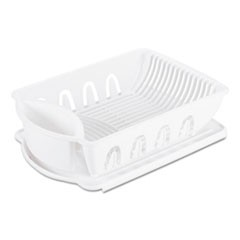 2-Piece Drain Rack Sink Set, White, Plastic, 14 5/8 x 21 x 3 1/2