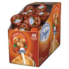 Flavored Liquid Non-Dairy Coffee Creamer, Hazelnut, 0.4375 oz Cup, 48/Box