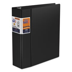 "QuickFit D-Ring Binder, 3"" Capacity, 8 1/2 x 11, Black"