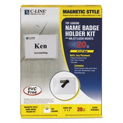 Magnetic Name Badge Holder Kit, Horizontal, 4w x 3h, Clear, 20/Box