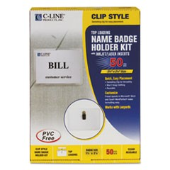Name Badge Kits, Top Load, 3 1/2 x 2 1/4, Clear, 50/Box