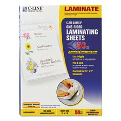 "Cleer Adheer Self-Adhesive Laminating Film, 3 mil, 9"" x 12"", Gloss Clear, 50/Box"