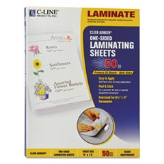"Cleer Adheer Self-Adhesive Laminating Film, 2 mil, 9"" x 12"", Gloss Clear, 50/Box"