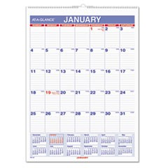 Monthly Wall Calendar with Ruled Daily Blocks, 8 x 11, White, 2018