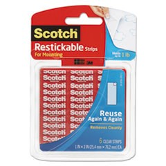 "Restickable Mounting Tabs, 1"" x 3"", Clear, 6/Pack"