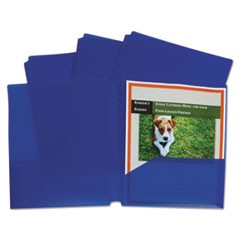 Two-Pocket Heavyweight Poly Portfolio Folder w/3-Hole Punch, Letter, Blue, 25/BX