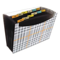 "13-Pocket Expanding File, 9.25"" Expansion, 13 Sections, 1/13-Cut Tab, Letter Size, Plaid"