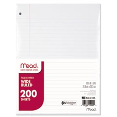 Filler Paper, 3-Hole, 8 x 10.5, Wide/Legal Rule, 200/Pack