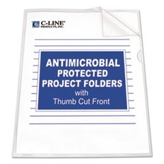 Antimicrobial Protected Poly Project Folders, Letter Size, Clear, 25/Box