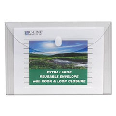 C-Line Reusable Poly Envelope, Hook & Loop Closure, 9.38 X 13, Clear, 5/Pack
