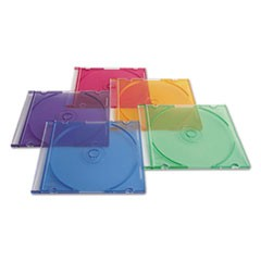 CD/DVD Slim Case, Assorted Colors, 50/Pack