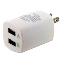 Universal USB Home Charger, 2 Outlets, White