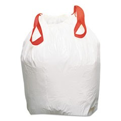 Drawstring Low-Density Can Liners, 13gal, 0.8mil, White, 100/Carton