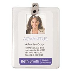 ID Badge Holder w/Clip, Vertical, 3w x 4h, Clear, 50/Pack