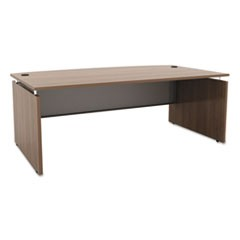 Sedina Series Bow Front Desk Shell, 72w x 42d x 29 1/2h, Walnut