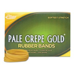 "Pale Crepe Gold Rubber Bands, Size 117B, 0.06"" Gauge, Crepe, 1 lb Box, 300/Box"