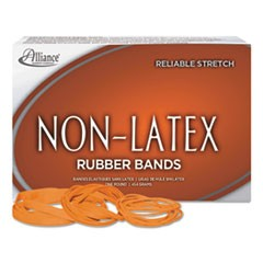 "Non-Latex Rubber Bands, Size 64, 0.04"" Gauge, Orange, 1 lb Box, 380/Box"