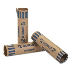 Preformed Tubular Coin Wrappers, Nickels, $2, 1000 Wrappers/Box