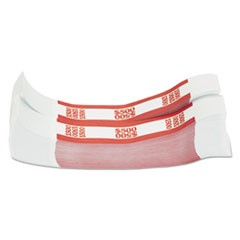 Currency Straps, Red, $500 in $5 Bills, 1000 Bands/Pack
