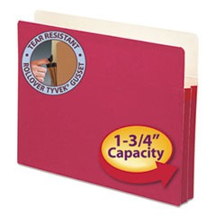 "Colored File Pockets, 1.75"" Expansion, Letter Size, Red"