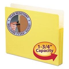 "Colored File Pockets, 1.75"" Expansion, Letter Size, Yellow"