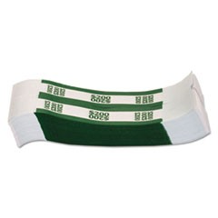 Currency Straps, Green, $200 in Dollar Bills, 1000 Bands/Pack