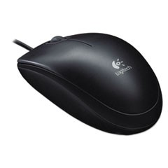 B100 Optical USB Mouse, USB 2.0, Left/Right Hand Use, Black