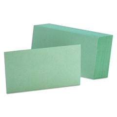Unruled Index Cards, 3 x 5, Green, 100/Pack