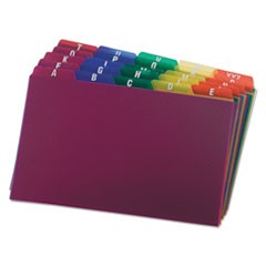 Durable Poly A-Z Card Guides, 1/5-Cut Top Tab, A to Z, 5 x 8, Assorted Colors, 25/Set
