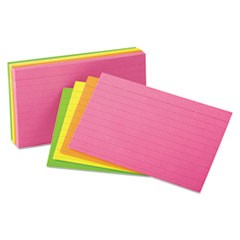 Ruled Index Cards, 3 x 5, Glow Green/Yellow, Orange/Pink, 100/Pack