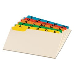 Manila Index Card Guides with Laminated Tabs, 1/5-Cut Top Tab, A to Z, 4 x 6, Manila, 25/Set