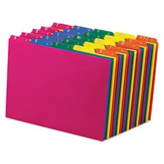 Poly Top Tab File Guides, 1/5-Cut Top Tab, A to Z, 8.5 x 11, Assorted Colors, 25/Set