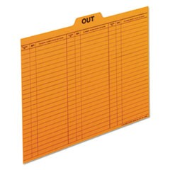 Salmon Colored Charge-Out Guides, 1/5-Cut Top Tab, Out, 8.5 x 11, Salmon, 100/Box