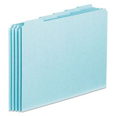Blank Top Tab File Guides, 1/5-Cut Top Tab, Blank, 8.5 x 11, Blue, 100/Box
