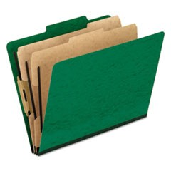 Six-Section Colored Classification Folders, Letter, Green, 10/Box